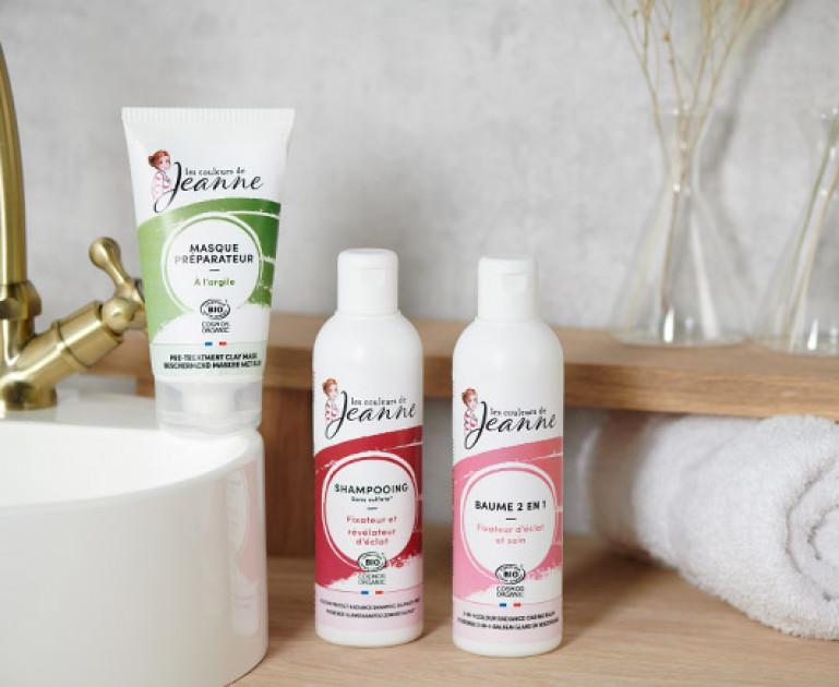 Productos capilares naturales Couleurs de Jeanne para preparar el cabello y mantener el color