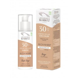 Crema facial con color Beige(Clara) SPF 30 de Alga Maris, 50ml.