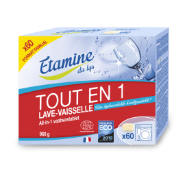 Pastillas lavavajillas todo en uno 60 Unds. Tamaño Familiar de Etamine du Lys