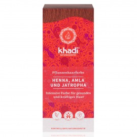 Tinte Vegetal Henna, Amla & Jatropha Rojo 100gr. Khadi